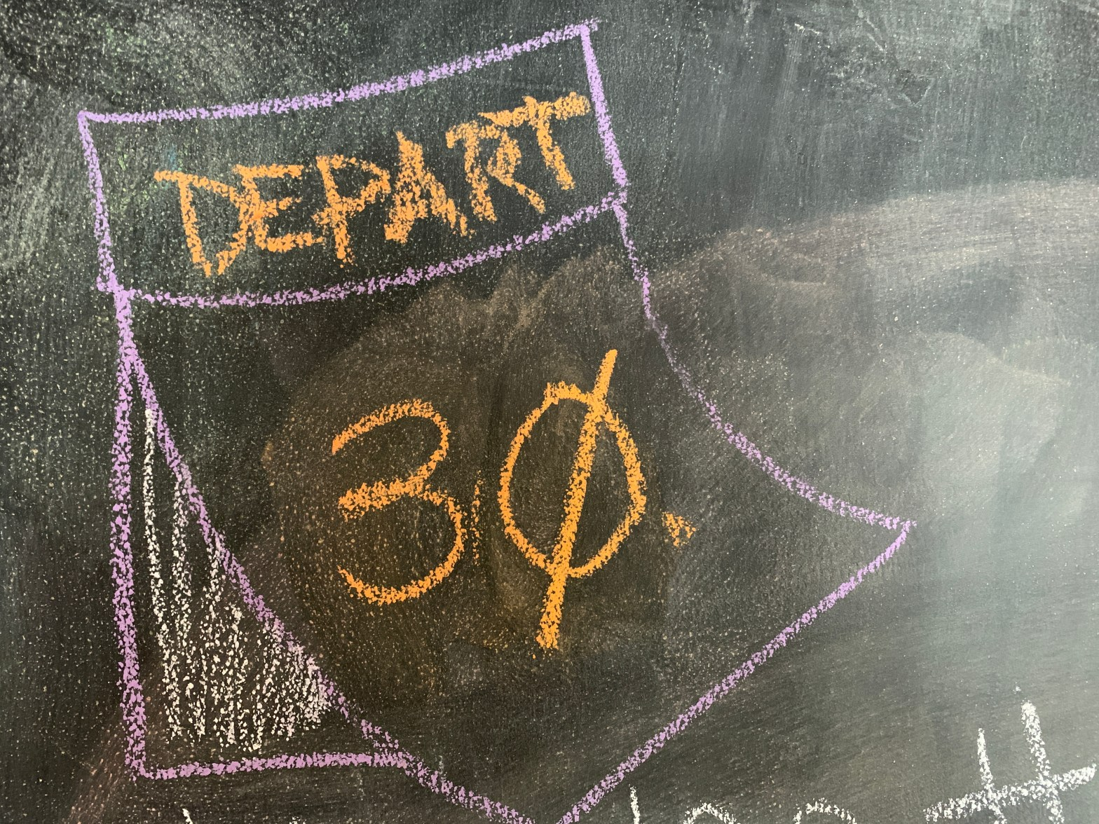 chalk board icon of calendar page with 30 days to depart