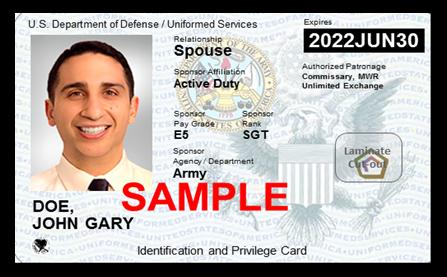 sample spouse military ID card