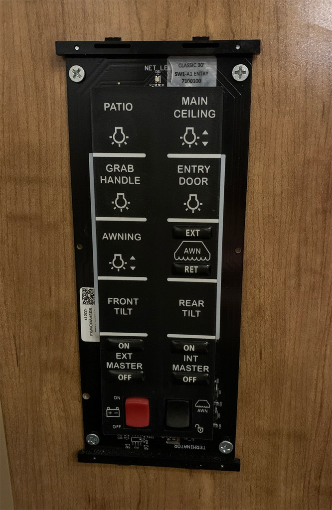 touch pad light and awning control panel